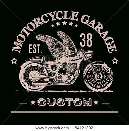 Vector motorcycle inspirational, advertising poster. Hand drawn illustration for retro motorcycle on black background. Graphic bike logo for custom company, motorclub, garage label, t-shirt print