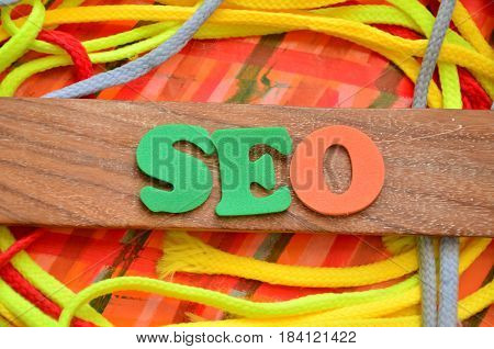 seo word on a  abstract colorful background
