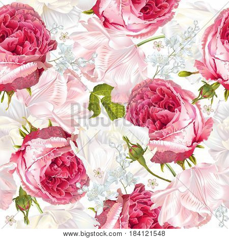 Vector seamless pattern with garden roses and tulip flowers on white background. Background romantic design for cosmetics, perfume, greeting card, wedding invitation. Best for fabric or wrapping paper