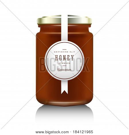 Glass jar with with jam, configure or honey. Vector illustration. Packaging collection. Label for honey. Bank realistic. Mock up mason jar with design label or badges