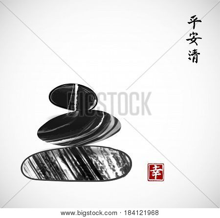 Pebble stones piled up on white background. Traditional Japanese ink painting sumi-e. Contains hieroglyphs - peace, tranquility, clarity, happiness.
