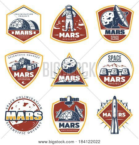 Colored vintage space labels set with inscriptions Mars exploration and research elements isolated vector illustration