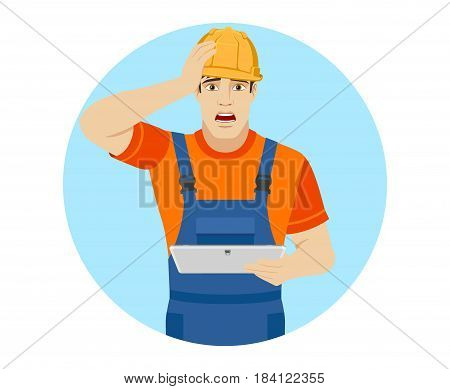 Builder holding digital tablet and grabbed his head. Portrait of builder character in a flat style. Vector illustration.
