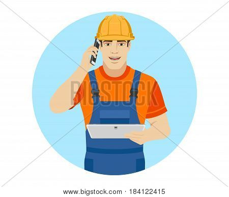 Builder holding digital tablet and talking on the mobile phone. Portrait of builder character in a flat style. Vector illustration.