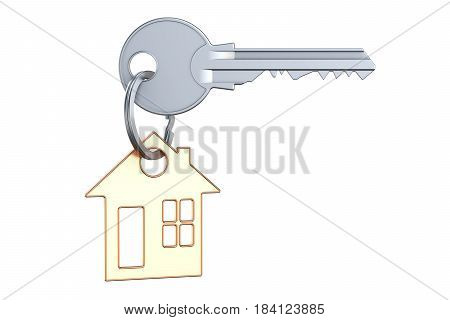 Home key with keychain 3D rendering isolated on white background