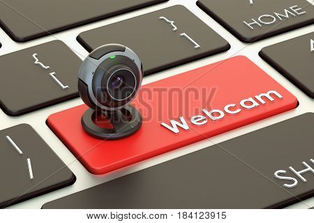 Internet communication concept webcam on keyboard button. 3D rendering