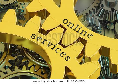 Online Services concept on the gearwheels 3D rendering