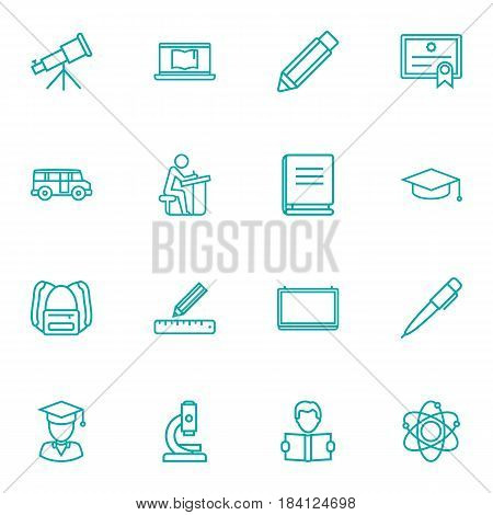 Set Of 16 Science Outline Icons Set.Collection Of Pencil, Atom, Graduation Cap And Other Elements.