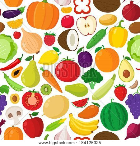 Vector Vegetables And Fruits Seamless Pattern
