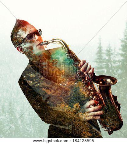 Saxophonist playing on saxophone, double exposure