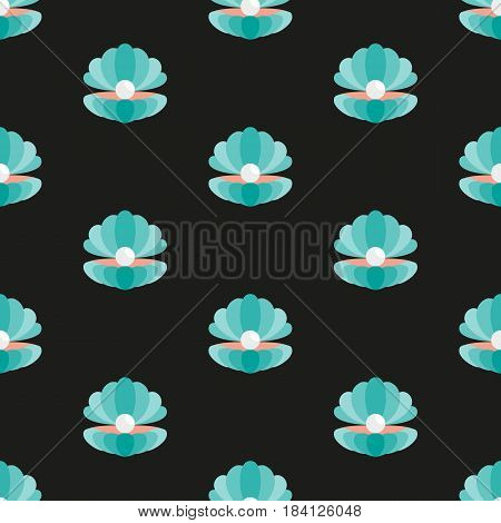 Shell with a pearl. Vector illustration on black background. Seamless pattern. Flat design style. Swatch inside