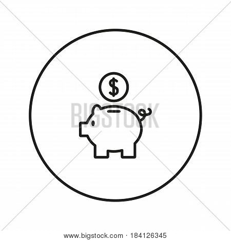 Piggy Bank. Icon for web and mobile application. Vector illustration on a white background. Line design style.