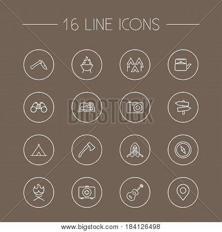 Set Of 16 Picnic Outline Icons Set.Collection Of Penknife, Grill, Place Pointer And Other Elements.