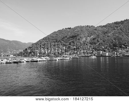 View Of Lake Como In Black And White