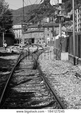 Como Nord Lago Train Station In Como In Black And White