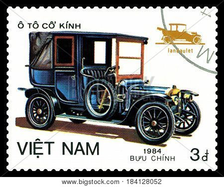 STAVROPOL RUSSIA - April 21 2017: a stamp printed by Vietnam shows old-time classical car Landaulet circa 1984