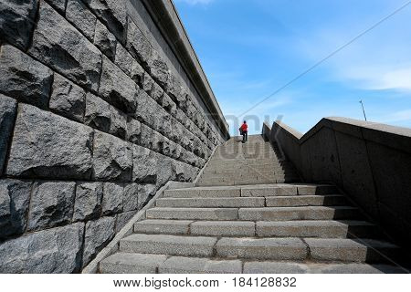 Photo of the old powerful staircase in the sunny day