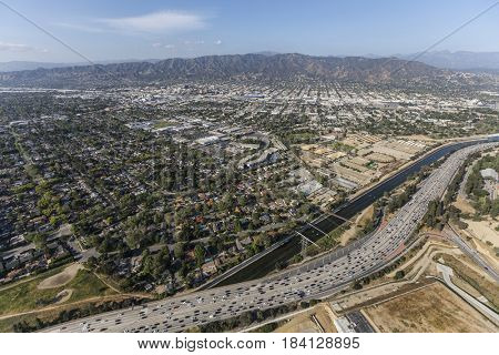 Aerial view of the Ventura 134 freeway, Los Angeles River and the San Fernando Valley in Southern California.