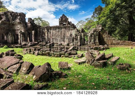 ruins ancient Preah Khan temple in Angkor