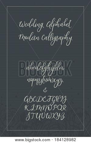 Calligraphic vector font. Uppercase, lowercase, ampersand. Wedding brush calligraphy. Handwritten script alphabet
