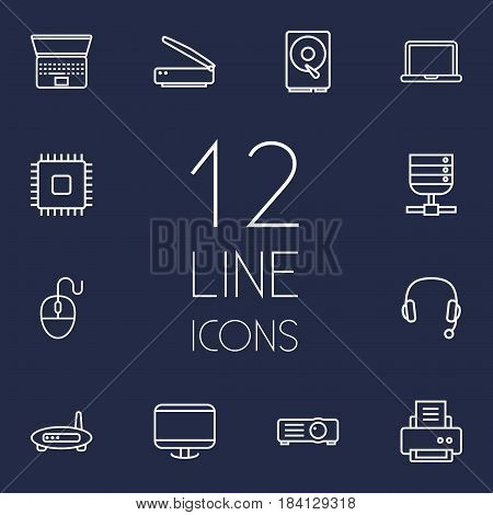 Set Of 12 Laptop Outline Icons Set.Collection Of Hdd, Projector, Monitor And Other Elements.