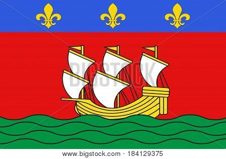 Flag of La Rochelle is a city in southwestern France and a seaport on the Bay of Biscay. Vector illustration