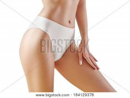 Spa and wellness. Healthy slim body in white panties. Beautiful sexy hips with clean skin. Fitness or plastic surgery. Perfect buttocks without cellulite. poster