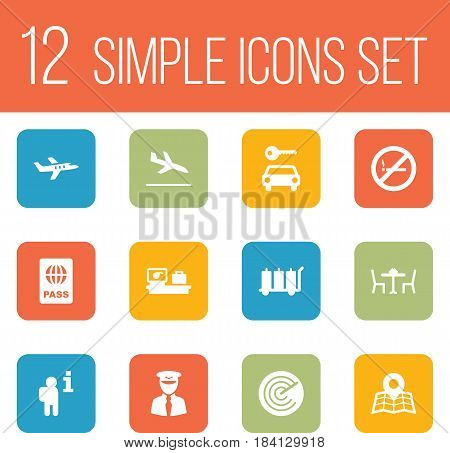 Set Of 12 Land Icons Set.Collection Of Restaurant, Location, Data And Other Elements.