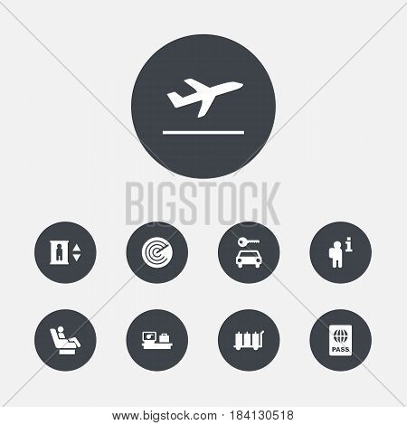 Set Of 9 Aircraft Icons Set.Collection Of Automobile, Radiolocator, Vip And Other Elements.