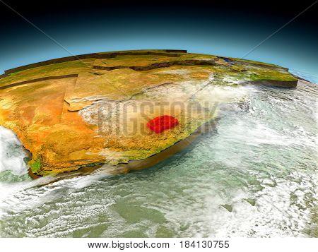 Lesotho On Model Of Earth