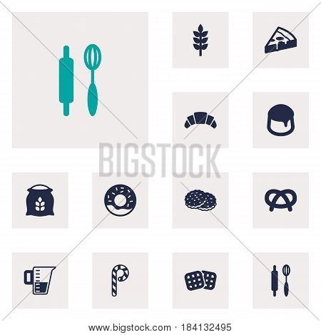 Set Of 12 Stove Icons Set.Collection Of Shortcake, Snack, Striped Lollipop And Other Elements.