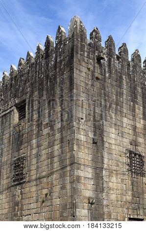 Detail of the Medieval Tower of the Old Jail built in the fourteenth century and converted into a jail in the sixteenth century in Ponte de Lima Portugal
