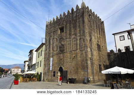 PONTE DE LIMA, PORTUGAL - OCTOBER 7, 2016: View of the Medieval Tower of the Old Jail built in the fourteenth century and converted into a jail in the sixteenth century in Ponte de Lima Portugal