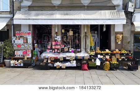 PONTE DE LIMA, PORTUGAL - OCTOBER 7, 2016: Traditional convenience store in the main street of Ponte de Lima Portugal