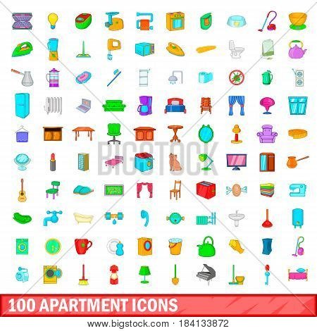 100 apartment icons set in cartoon style for any design vector illustration