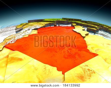 Algeria On Model Of Earth