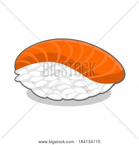 Appetizing nigiri sake sushi with salmon fish. Vector illustration isolated on a white background.