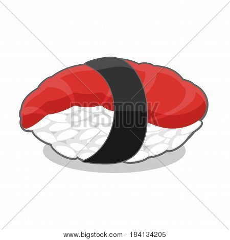 Delicious nigiri maguro sushi with tuna fish and seaweed nori ribbon. Vector illustration isolated on a white background.