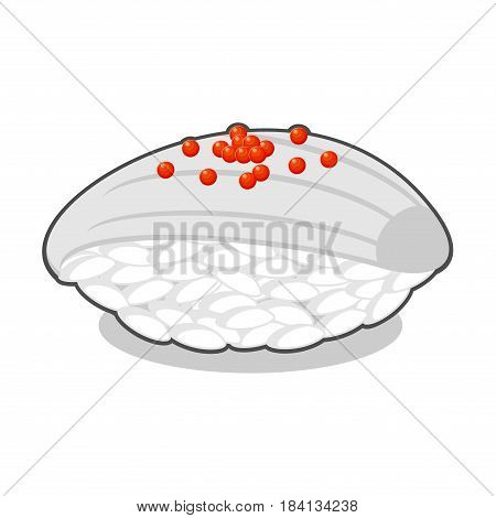 Yummy nigiri ika sushi with squid and red caviar. Vector illustration isolated on a white background.