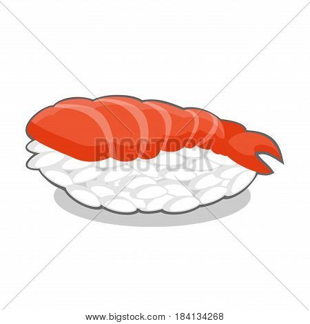 Vector illustration of tasty nigiri ebi sushi with shrimp isolated on a white background.