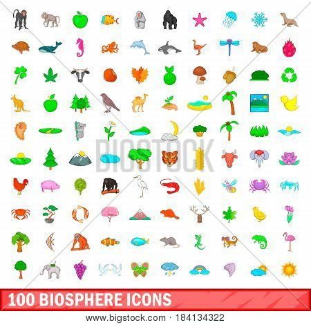 100 biosphere icons set in cartoon style for any design vector illustration