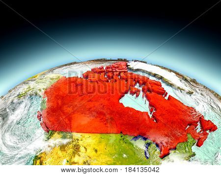 Canada On Model Of Earth