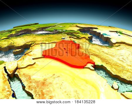 Iraq On Model Of Earth