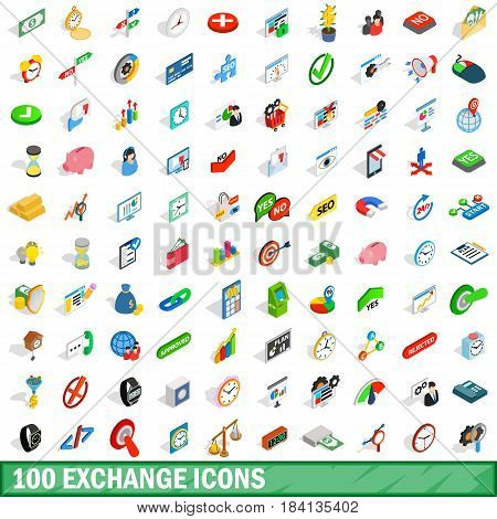 100 exchange icons set in isometric 3d style for any design vector illustration