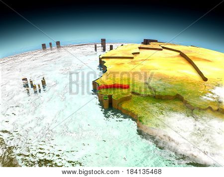 Gambia On Model Of Earth