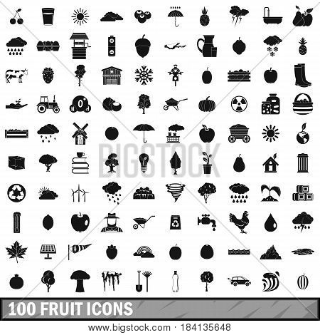 100 fruit icons set in simple style for any design vector illustration