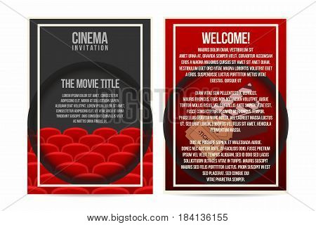 Cinema poster invitation flyer template. A4 size. cinema seat rows tickets and clapper on background. Vector