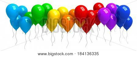 Rainbow of colorful balloons isolated on white - 3d rendering