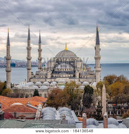 Blue mosque with six  minarets, Istanbul, Turkey.