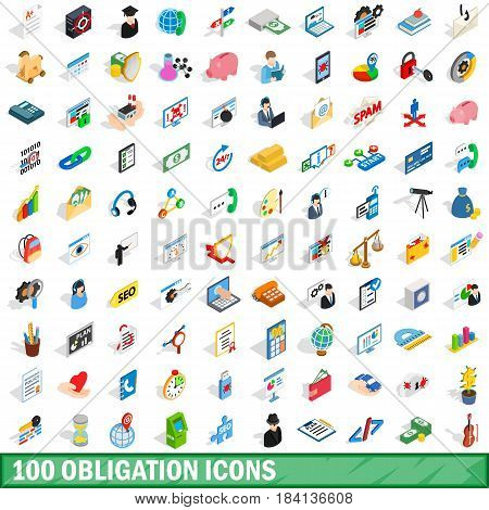 100 obligation icons set in isometric 3d style for any design vector illustration